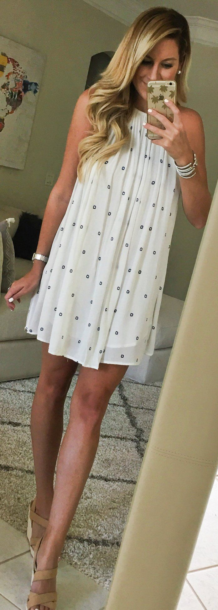 #summer #outfits  White Dotted Dress