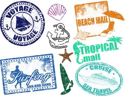 vintage travel stamps elements