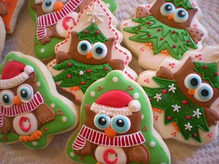 Christmas owl cookies by Sugar