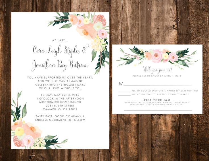 Whimsical Floral Wedding Invitation Set; Peach, Pink, Green by papernpeonies on Etsy https://www.etsy.com/listing/213391753/whimsical-floral-wedding-invitation-set