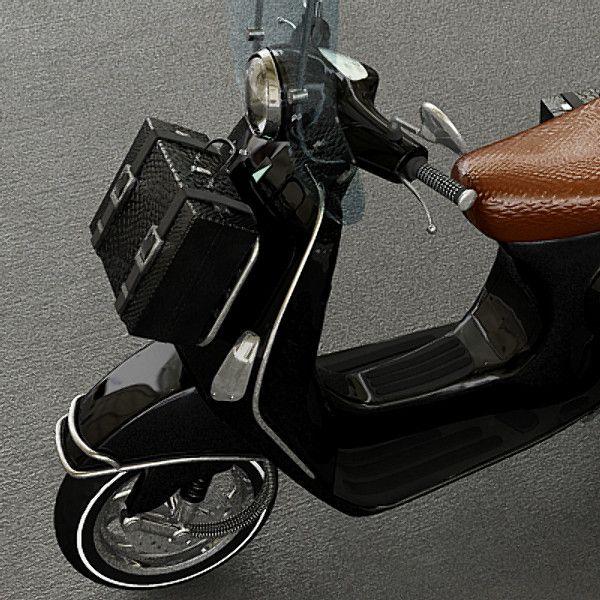 Leather bag on Vespa Front Rack
