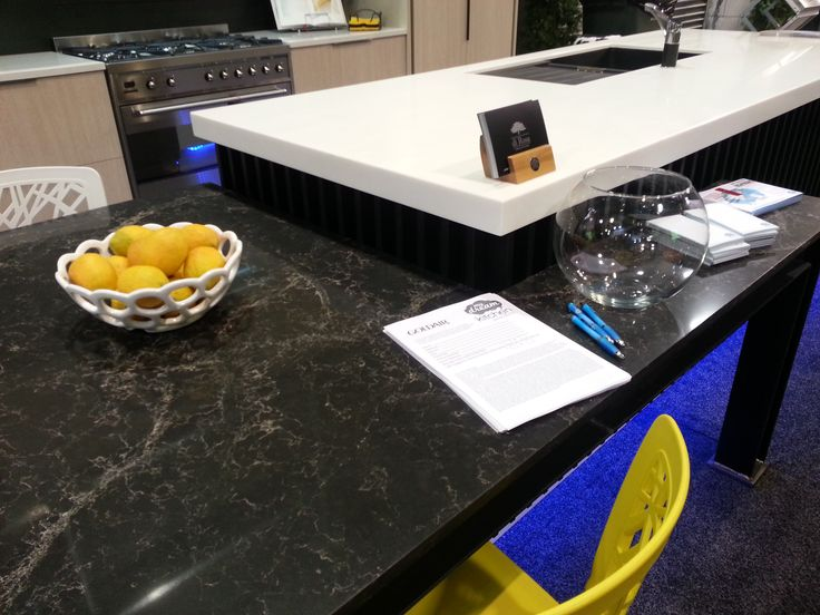 Caesarstone Vanilla Noir table and Laminex Solid Surface Stratus benchtop My Dream Kitchen Designed and manufactured by Di Rosa Cabinetry & Furniture, table and bench top fabricated by Pacific Stone