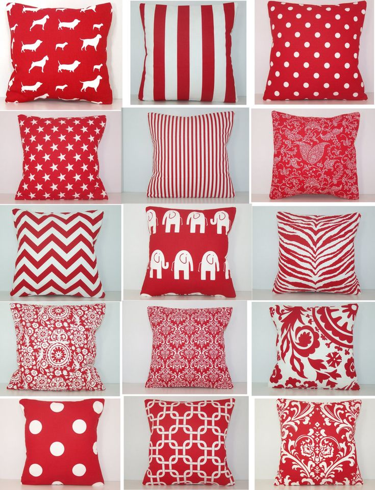 """Red Pillow, Pillow Cover, Red Sham, Lumbar, Euro, Premier Prints Fabric,  Red Chevron Pillow, Red Damask Pillow, 20 x 20, 18 x 18, 24"""" by Cathyscustompillows on Etsy https://www.etsy.com/listing/167143135/red-pillow-pillow-cover-red-sham-lumbar"""