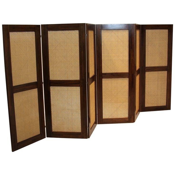 massive danish modern caned solid staved teak frame folding screen room divider