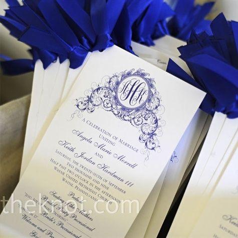 Simple yet elegant: The Knot, Cobalt Blue, Wedding Invitations, Wedding Blue, Wedding Photo, Wedding Program, Ceremony Program, White Program, Blue And White