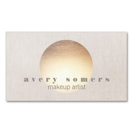 Spa and Salon Gold Circle Peach Linen Look Double-Sided Standard Business Cards (Pack Of 100)