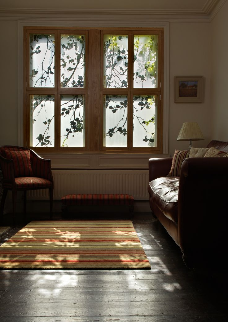 Design Window: Etched Glass Shutters With A Plane Tree Design. A Great