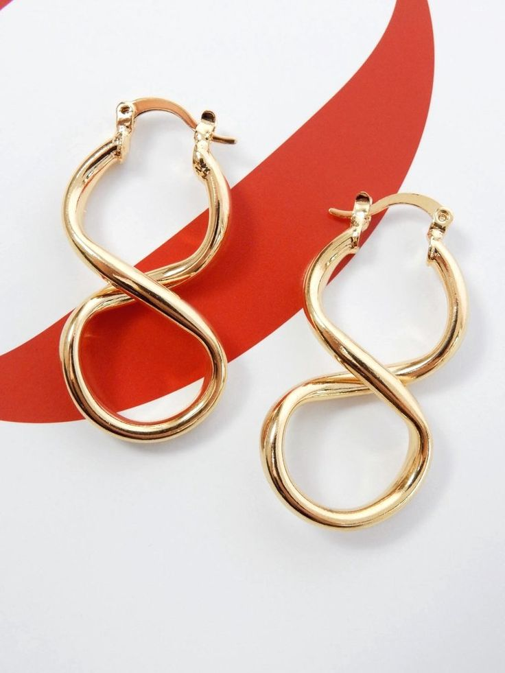NEW gold twist hoop earrings Infinity shape Thick gold metal Leverback closure Copper Length / 4cm Width / 2cm