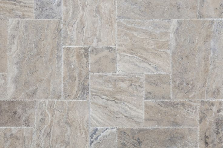 Silver travertine brushed & cheseled French Pattern set (Pewter Travertine)
