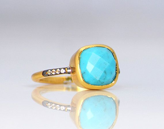 Faceted Natural Turquoise Vermeil Gold White Topaz Pave cushion square shape stacking bezel set ring - December Birthstone