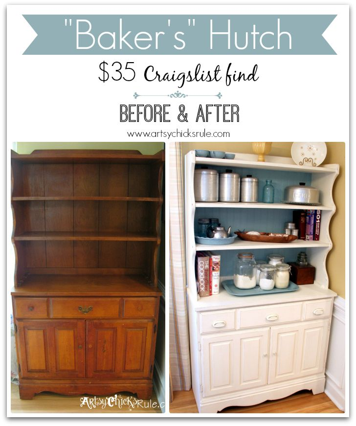"""1970's Hutch -to- """"Baker's"""" Hutch with Old White and Duck Egg Blue Chalk Paint® decorative paint by Annie Sloan   By Artsy Chicks Rule"""