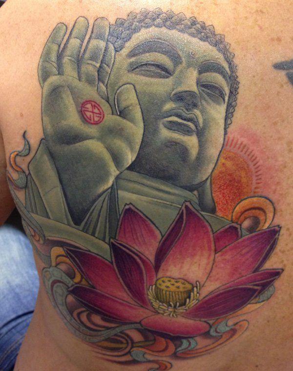 buddha-lotus-tattoo - 35 Inspiring Religious Tattoos  <3 <3