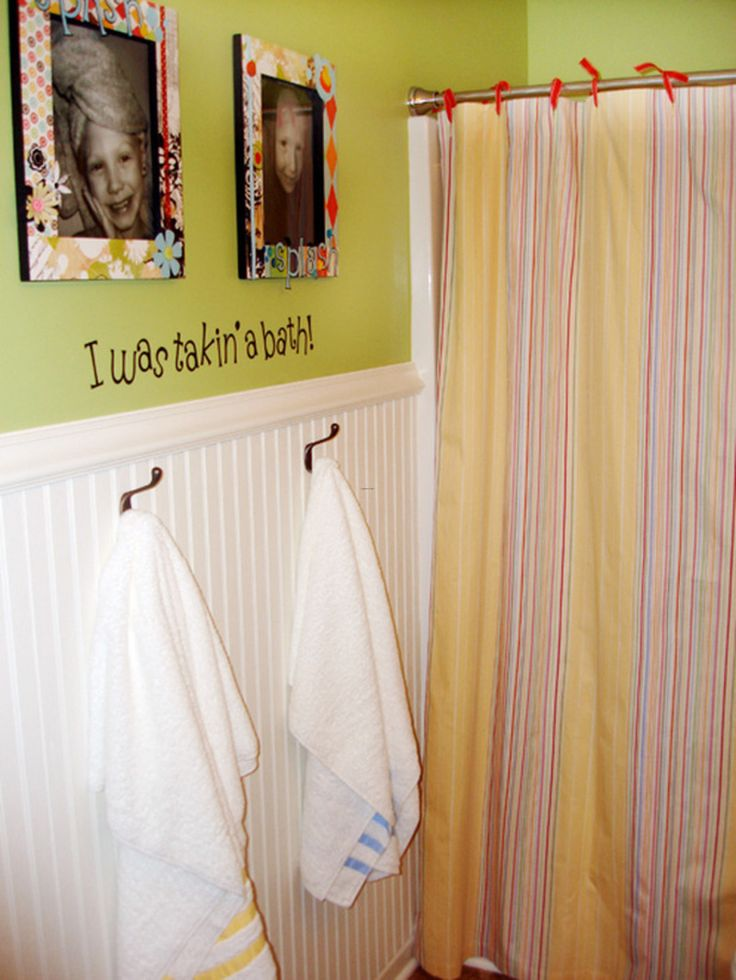 Preety Kids Bathroom Design With Striped Shower Curtain And White Polkadot Also Green Wall Photos