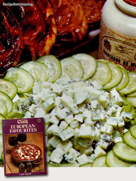 """Cucumber And Yogurt Salad – Agurk Og Yoghurt Salat - A recipe from """"European Favourites"""" (Europeiske Favoritter) published by Collins in 1973 - A popular side salad in the Eastern Mediterranean countries."""