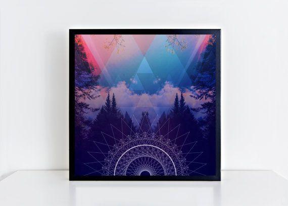 16x16,20x20, Northern Meditation,Part 2. Square Giclee Matte Photo Print.Fine art print.Night Sky.Photography art. Sacred Geometry. Trees