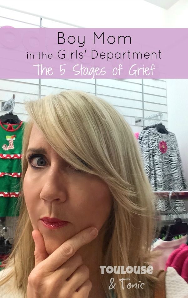 Boy mom in the girls department: the 5 stages of grief. This is so true and so freaking funny. It'll happen to me 100 times while Christmas shopping! @toulousentonic | humor | baby boy | baby girl
