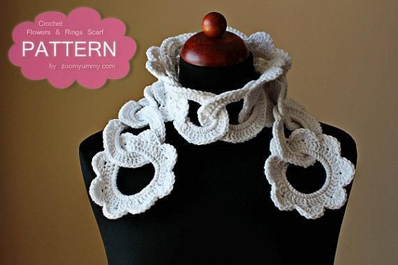 Crochet Flowers And Rings Scarf Pattern