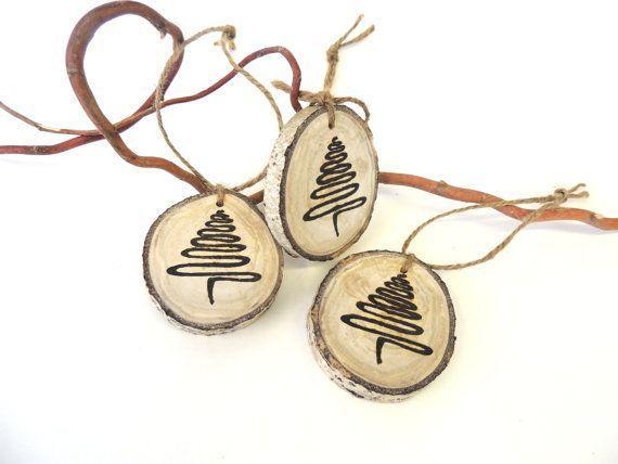 tree ornaments 3 wood abstract christmas trees tree slice ornament ...