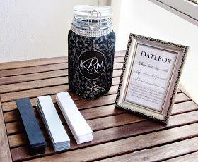 Juhlissame oli datebox , johon vieraat kirjoittelivat treffivinkkejä. Eri värisille lapuille tulivat eri hintaiset ja kokoiset treffivinkit...
