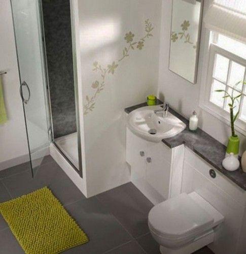 baño pequeño blanco, gris y verde