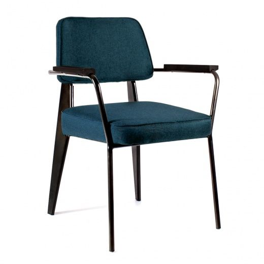Кресло Вена черная сталь + сиденье синяя ткань