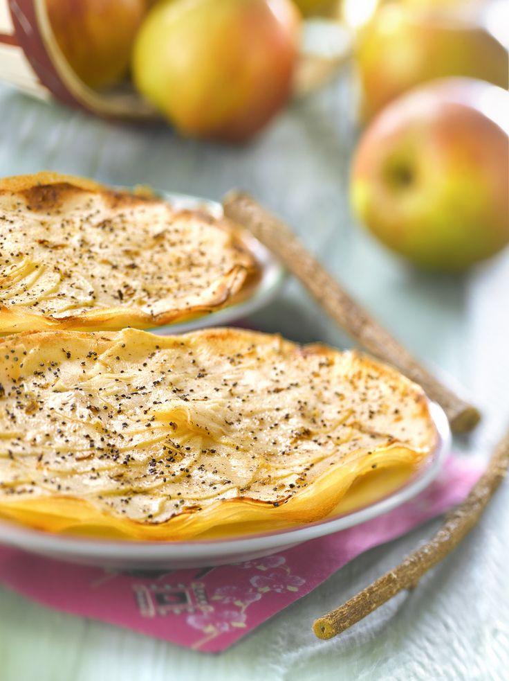 Recette de Tarte fine aux feuilles de brick à la pomme et cannelle. Il vous faut : brick, pommes, ½ cuillère à café de cannelle, rase de graines de pavot, beurre