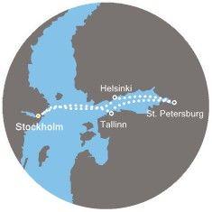1. denStockholm (Švédsko)   Připlutí: -   Odplutí: -2. denStockholm (Švédsko)   Připlutí: -   Odplutí: 10:003. denHelsinky (Finsko)   Připlutí: 08:00   Odplutí: 18:004. denPetrohrad (Rusko)   Připlutí: 07:00   Odplutí: -5. denPetrohrad (Rusko)   Připlutí: -   Odplutí: 18:006. denTallinn (Estonsko)   Připlutí: 09:00   Odplutí: 17:007. denStockholm (Švédsko)   Připlutí: 09:00   Odplutí: -8. denStockholm (Švédsko)   Připlutí: -   Odplutí: -