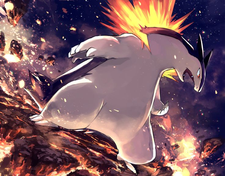 This is my Typhlosion! She is one of the best, and is a duo with my Serperior. She is level 73 and wants to do her very best to help raise my other pokemon so we can lol finally go to the pokemon league with the others and Serperior!