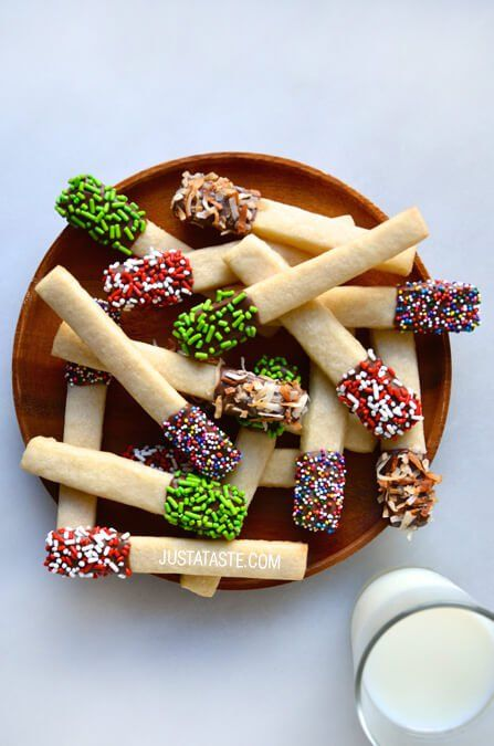 Sprinkle Sugar Cookie Sticks | http://www.justataste.com/2014/12/sprinkle-sugar-cookie-sticks-recipe/