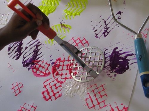 potatoe masher painting experience..note: these make great bubble blowers too :)