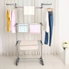 Multifunctional Indoor Outdoor Folding Laundry Storage Rack Clothes Drying Rack Dryer Garment Hanger Stand, Gray
