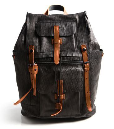 Black Modern Multi-Pocket Leather Laptop Backpack