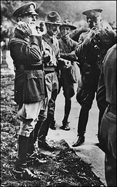 In May 1932, the Bonus Army, mostly of jobless WWI veterans, demanded payment of promised bonus certificates, not scheduled to mature for another 13 years. Congress refused. Hoover ordered Chief of Staff Gen. Douglas MacArthur to disperse the Bonus Army. MacArthur, resplendent in his regalia, with 1,000 troops with gas masks and tear gas grenades, fixed bayonets, 6 tanks, and cavalry with drawn sabers, routed the veterans, and then proceeded to burn down their encampment, exceeding his…