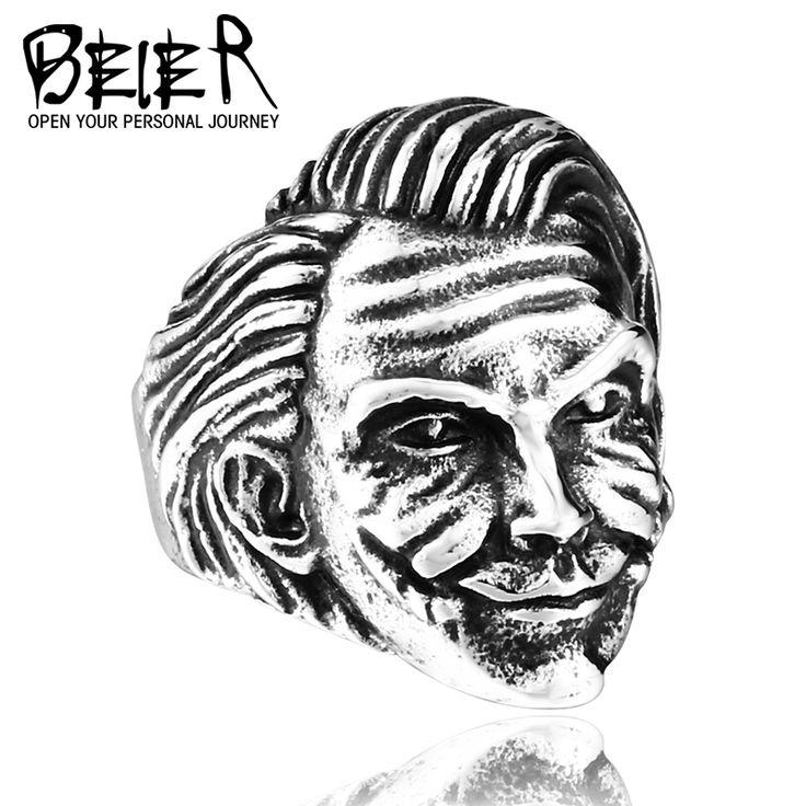 BEIER 2016 Cool Unique Design Batman Movie Joker Head Ring BR8-292