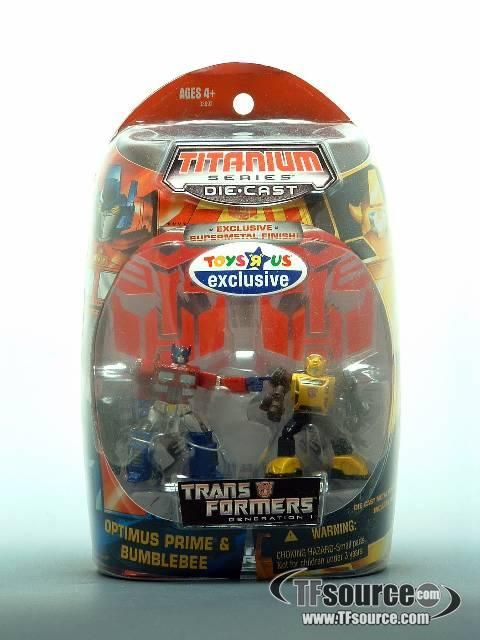 #transformer titanium - optimus prime & bumblebee - toys 'r' us exclusive supermetal finish