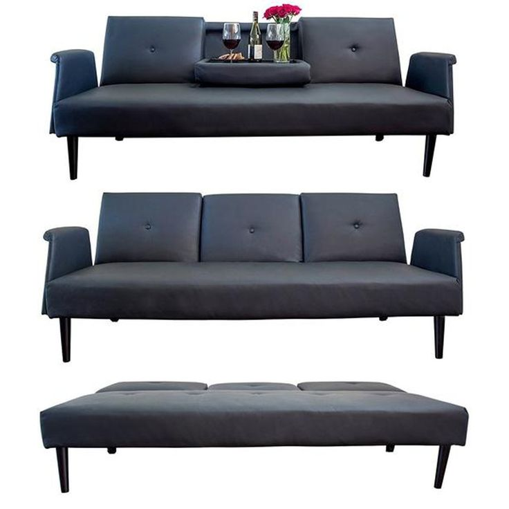 Leather Sofa Bed With Tray And Cup Holders Black Contemporary Futon Gorgeous
