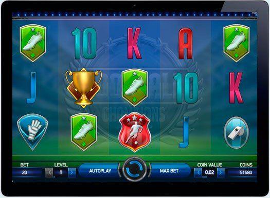 Игровой автомат Football Champions Cup в онлайн казино.  Игровой автомат Football Champions Cup от компании-разработчика NetEntertainment станет настоящим открытием игры на реальные деньги в онлайн казино для истинных фанатов футбола. Это видео-слот с отличной графикой и звуковым наполне�