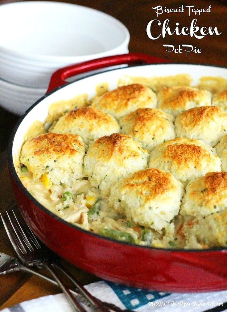 This Biscuit Topped Chicken Pot Pie is comfort food at it's finest. Topped with melt-in-your-mouth Southern buttermilk drop biscuits, you just can't go wrong.