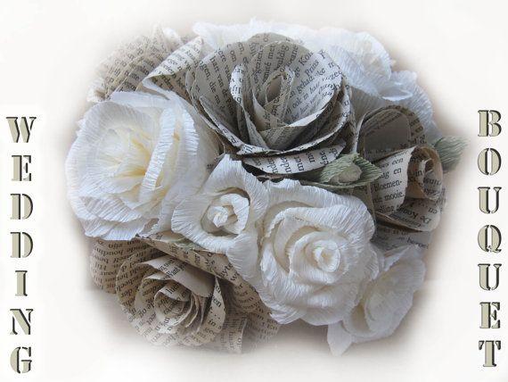 Rustic Wedding Bride IVORY WEDDING PAPER bouquet by moniaflowers