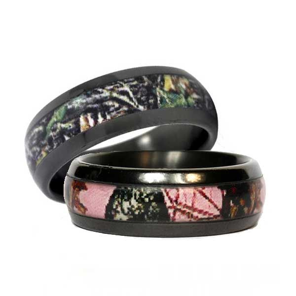 Get A Set Of His And Hers Black Camo Wedding Bands For You Both In