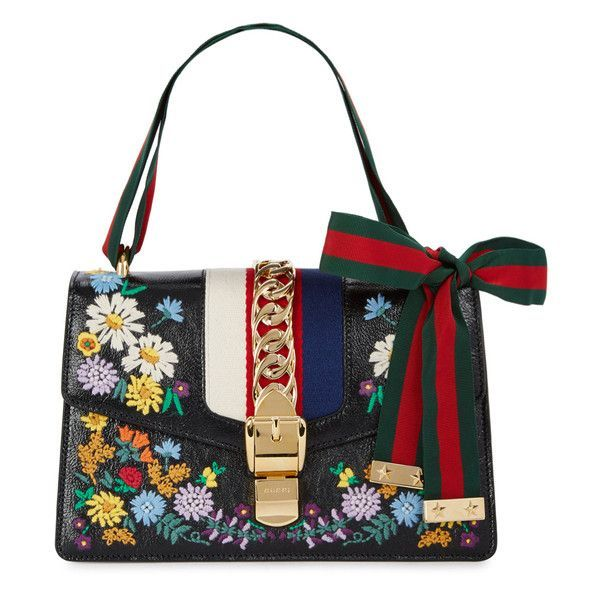 2d21299c7f4 Gucci Sylvie Black Leather Shoulder Bag (€2.445) ❤ liked on Polyvore  featuring bags