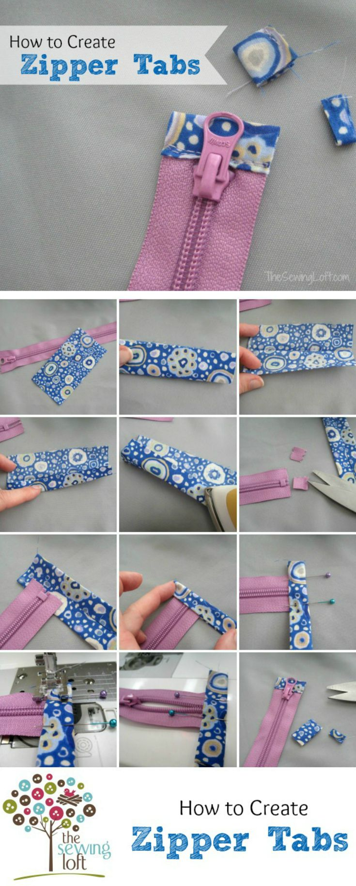 Zipper tabs are functional, plus can add a creative and decorative detail. Perfect for neatening the end of the zipper on a zipper bag or pouch.  If your bag zippers dip in at the end, then you NEED this tutorial. Learn how to reduce a zipper and the anatomy of a nylon zipper on The Sewing Loft