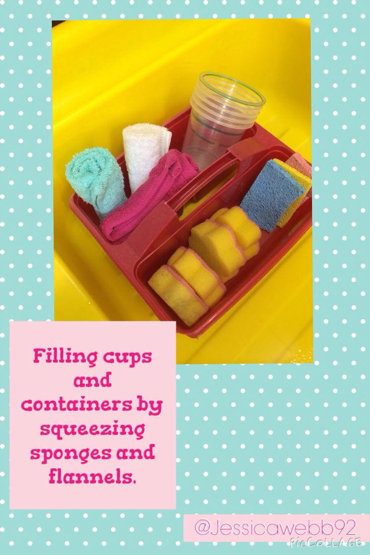 Exploring capacity by filling cups with flannels and sponges.