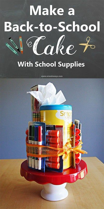 Shop Kmart to get the back-to-school essentials you need to make your kids' teachers a school supplies cake! See the how-to in today's post on www.orsoshesays.com. #OSSS #Backtoschool #craftidea #DIY