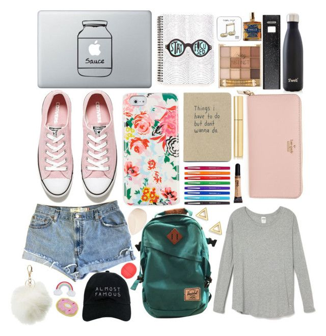 """""""Keep in mind I didn't go to brit school"""" by howtobehipsterish ❤ liked on Polyvore featuring Converse, ban.do, Herschel Supply Co., Paper Mate, Kate Spade, Levi's, Eos, AERIN, Christian Dior and Outremer"""