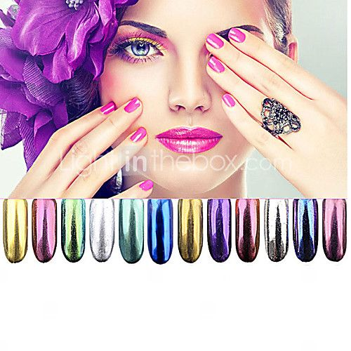 12 kleuren chroom spiegel poeder goud pigment poeder ultrafijne stof nagel glitters nail pailletten nail art decoraties 1g - EUR €1.75