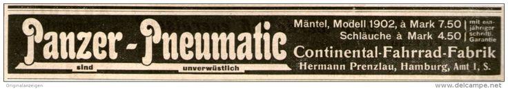 Original-Werbung/Inserat/ Anzeige 1902 - PANZER PNEUMATIC / CONTINENTAL FAHRRAD-FABRIK  ca. 180 X 25 mm