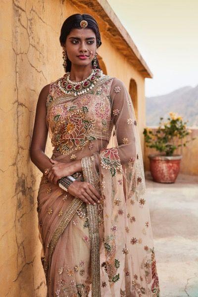 Chiffon embroidered saree by Anamika Khanna.