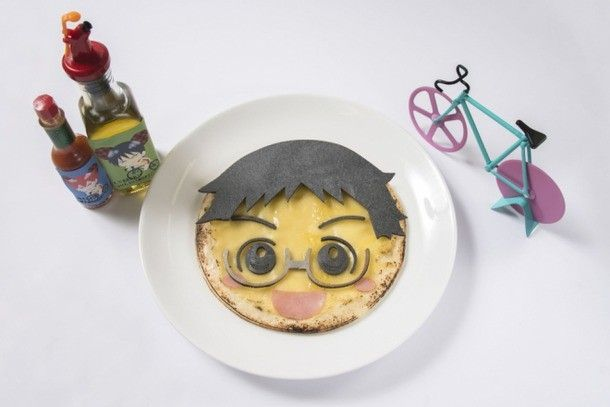 Eat Your Favorite Characters' Faces at Yowamushi Pedal Cafe - Sakamichi is excited to be devoured in cheese pizza form. His hair is represented by a wafer. (1,280 yen/$10.30)