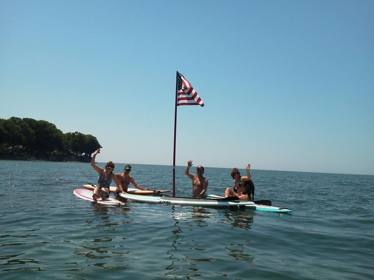 A little SUP fun with friends, in the Sun, in Grandview Bay